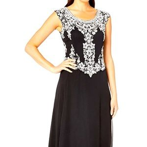 COMING SOON JKARA BLACK AND WHITE BEADED FORMAL 6